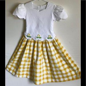 Rare 1970's Custom Gingham Sunflower Toddler Dress